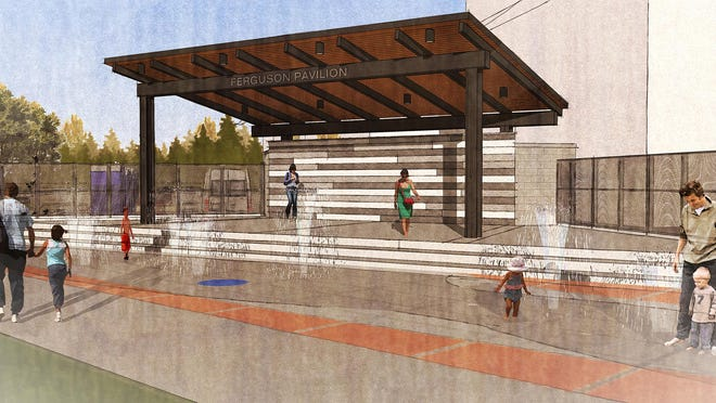 An artist's rendering shows the Arts Plaza public art project in downtown Freeport, which is moving closer to reality.