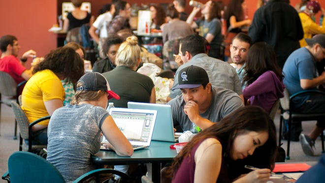 Students pack the Corbett Center Student Union during lunchtime at New Mexico State University in 2015.