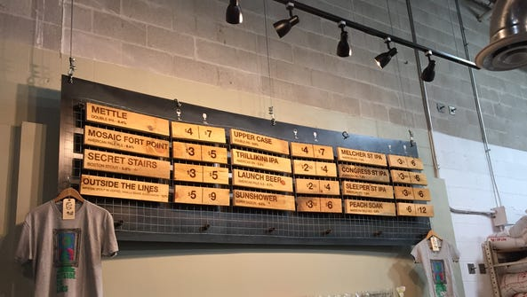The beer list at Trillium Brewing Co. brewery in Canton,