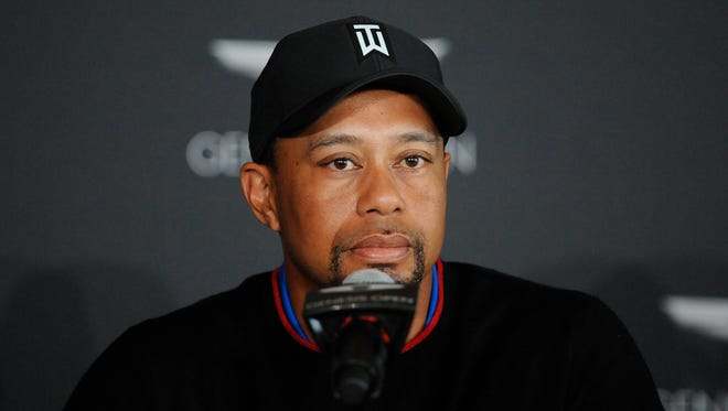 Tiger Woods speaks during media day for the Genesis Open at The Riviera Country Club.
