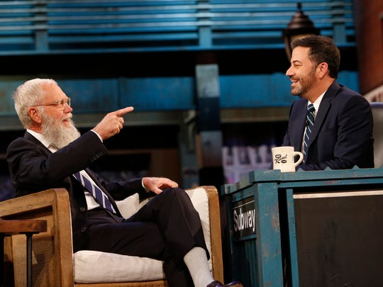 "David Letterman chats with Jimmy Kimmel during a special Brooklyn episode of ""Jimmy Kimmel Live"" on Oct. 17."