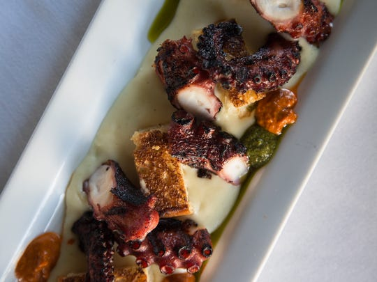 Grilled octopus with chipotle romesco and potato puree