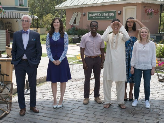 "Ted Danson, D'Arcy Carden, William Jackson Harper, Manny Jacinto, Jameela Jamil and Kristen Bell explore the afterlife on NBC's ""The Good Place."""