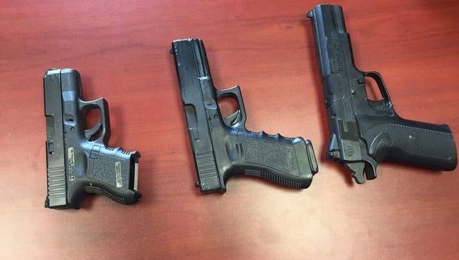 A handgun, a BB gun and an airsoft gun. Can you tell which is which?