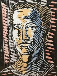"""""""In a Doorway,"""" woodcut print by Alan LeQuire."""