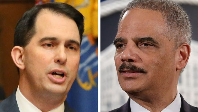 Governor Scott Walker on January 24, 2018.  Former Attorney General Eric Holder on March 4, 2015.