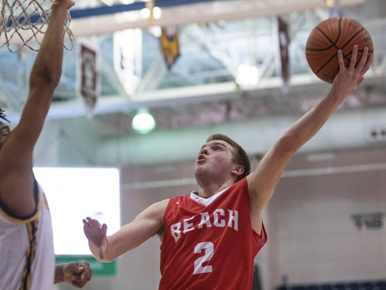 Point Pleasant's Daniel Frauenheim goes up with shot
