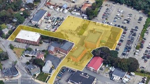 A map fo the current property that would be converted to apartments if the project is completed.