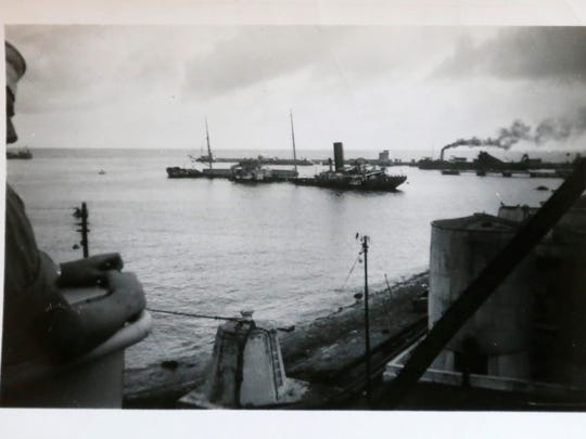 This photograph shows a sunken ship in Gibraltar Bay during Word War II. Hoover said they searched for survivors but found none.