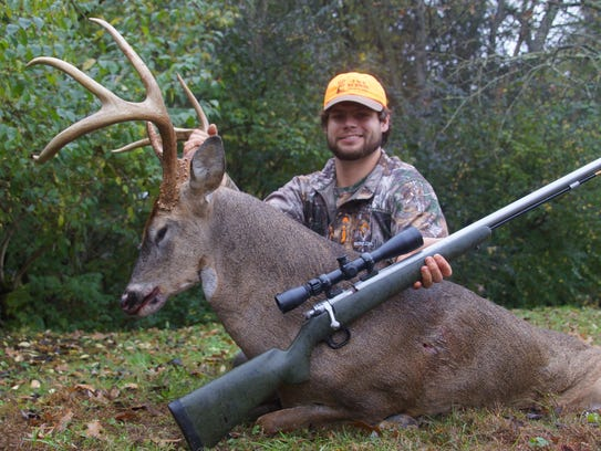 Stephen Tucker, who killed the world record deer in Sumner County on Nov. 7, 2016, harvested his first deer since then on Sunday. Tucker shot this eight-point buck also in Sumner County from 80 yards away.