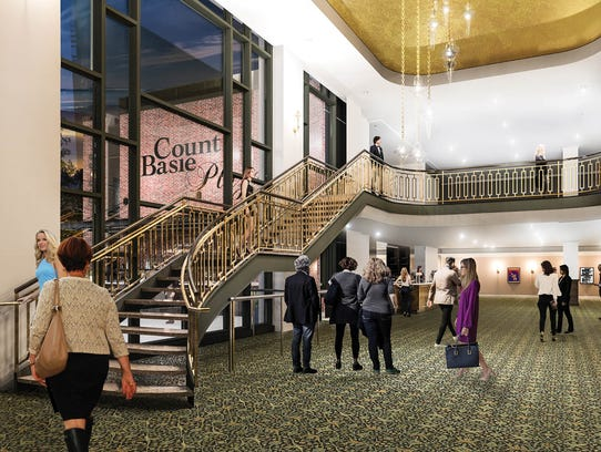 The grand lobby plans for the Count Basie Theatre in