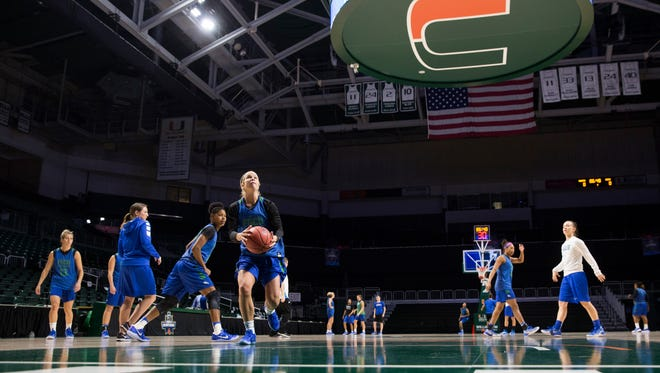 The FGCU women's basketball team practices at the Watsco Center Friday, March 17, 2017 in Coral Gables, Fla. FGCU takes on the University of Miami in the first round of the NCAA tournament.