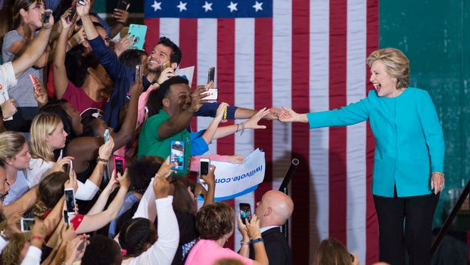 Hillary Clinton greets supporters at an Early Voting Rally on Wednesday, Oct. 26, 2016, at Palm Beach State College in Lake Worth.