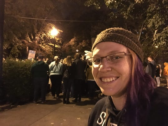 """Joy Camacho, 34, of Knoxville, organized """"Love Trumps Hate Rally ..."""