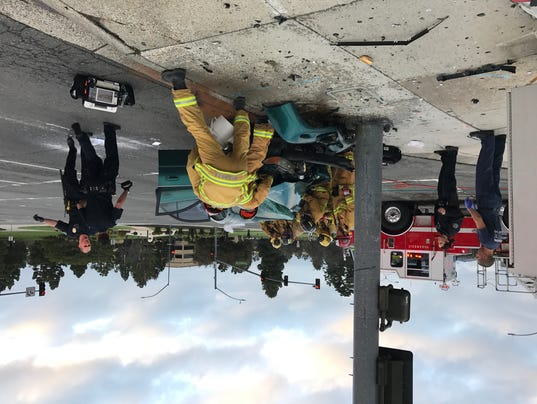 Ventura city firefighters and police officers respond to an accident Sunday morning in Ventura.