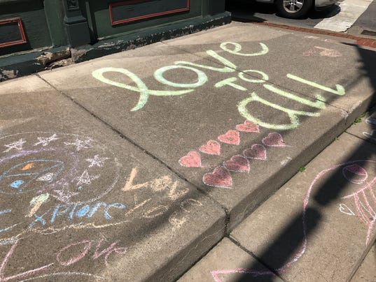 Love chalked on Main Street in Honeoye Falls