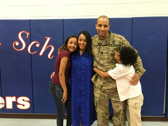 Americas High senior Tyrae Collins happy to see her military dad
