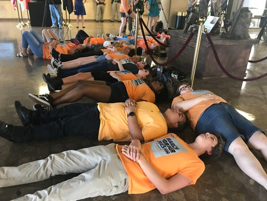 "Protesters' ""die-in"" at the state Capitol"
