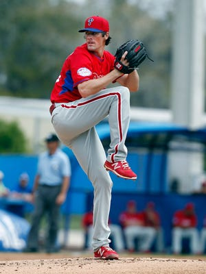 Phillies starting pitcher Cole Hamels (35) throws a pitch during a spring training baseball game March 26 at Florida Auto Exchange Park. Credit: Reinhold Matay-USA TODAY Sports
