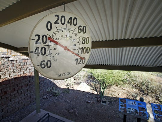 The thermometer at the Echo Canyon Trailhead on Camelback