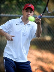 Ryan Mellinger makes a forehand return on Thursday on the way to the Mt. Gretna singles championship.