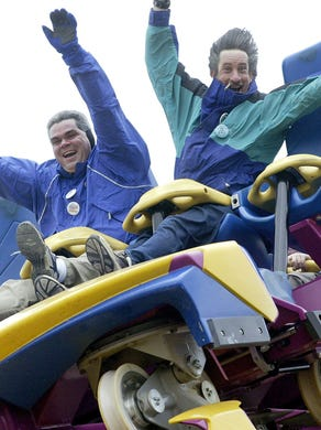2003: Gregory Strack and Steve O'Donnell enjoy Nitro at Six Flags Great Adventure.