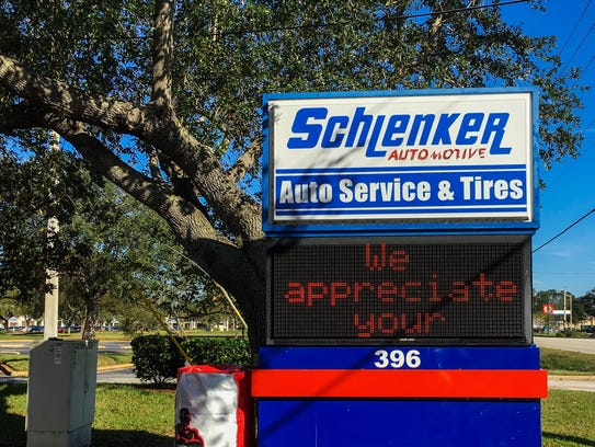 On Sunday, the sign in front of Schlenker Automotive