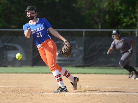 Delmar's Tracy Pleasanton in the circle against Sussex Tech Tuesday, May 2, 2017.