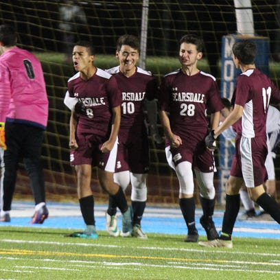 Scarsdale celebrates after a goal from Luca Novaes