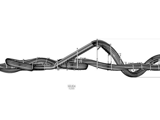 "Elevation drawing of an enclosed ""family coaster"" planned for a 5-acre expansion at Dollywood."