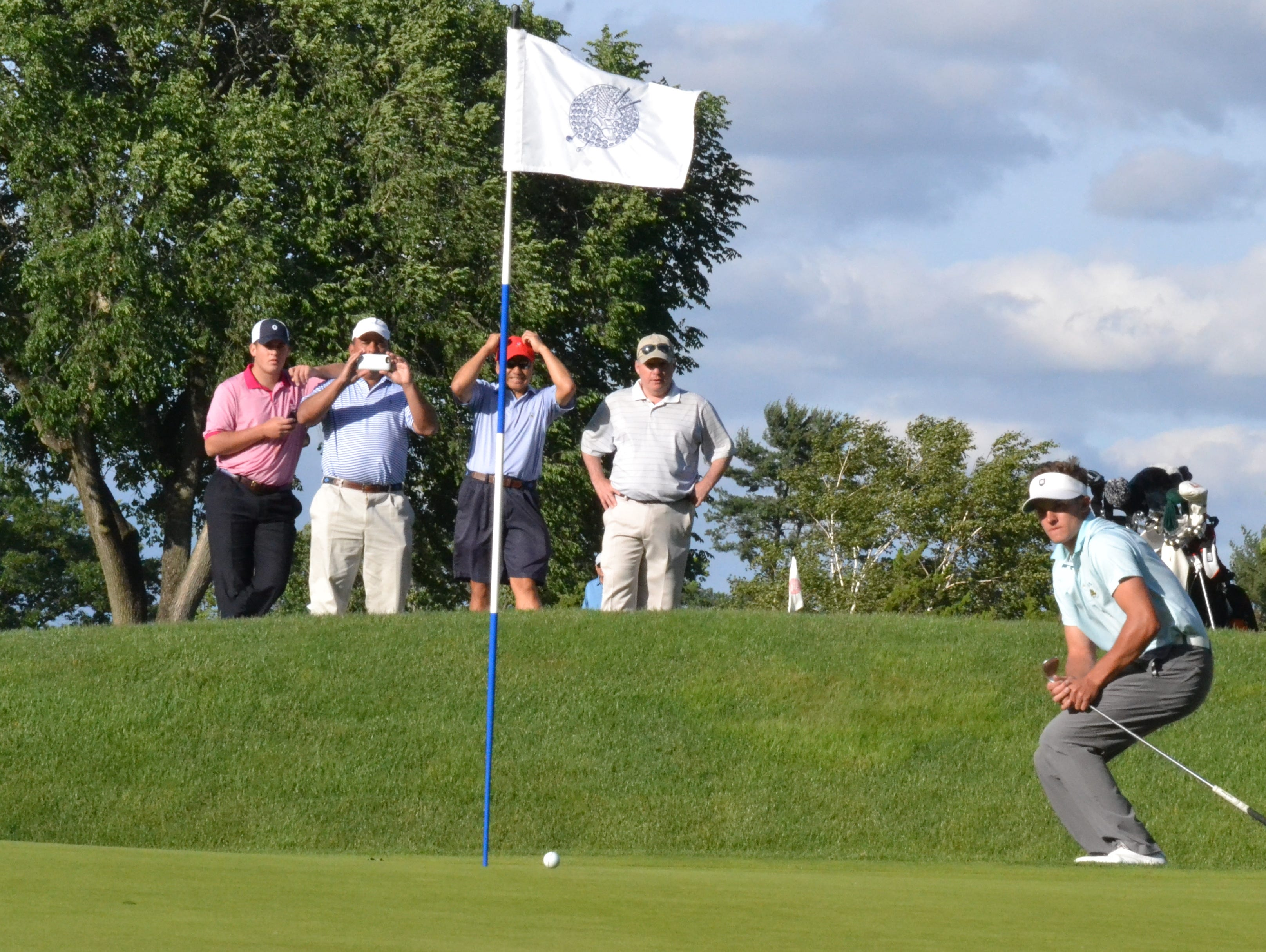 James Nicholas almost holed out for par on the 18th hole at Winged Foot West in the finale of the Anderson Memorial.