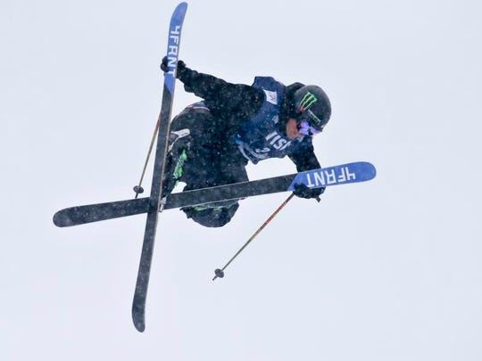 Reno's David Wise skis his winning run during the men's U.S. Grand Prix halfpipe finals  on Sunday.
