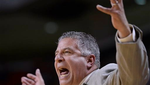 Auburn coach Bruce Pearl reacts to a play during a 84-81 win vs. Georgia on Feb. 24, 2016, in Auburn, Ala. Pearl was frustrated with Auburn's execution Saturday in a 65-57 loss at Alabama.