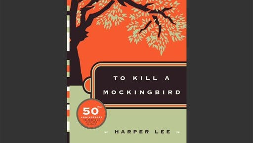 """This photo provided by HarperCollins Publishers shows the cover of """"To Kill A Mockingbird."""" ?To Kill a Mockingbird? will be made available as an e-book and digital audiobook in July 2014, filling one of the biggest gaps in the electronic library. Author Harper Lee said in a rare public statement Monday, April 28, 2014, issued through HarperCollins Publishers, that while she still favored ?dusty? books she had signed on for making ?Mockingbird? available to a ?new generation.? (AP Photo/HarperCollins Publishers)"""