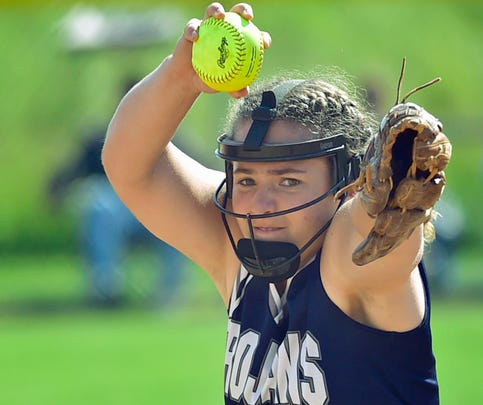 Leah Hunt hurls a pitch for the Trojans. Chambersburg softball played Central Dauphin in the District 3-6A semifinals Wednesday, May 31, 2017 at Carlisle High School. The Trojans won 5-3