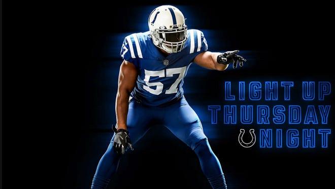 Indianapolis Colts color rush uniforms.