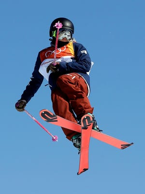 MaggieVoisin, of Whitefish, jumps during the women's slopestyle finals at Phoenix Snow Park at the 2018 Winter Olympics in Pyeongchang, South Korea, Saturday, Feb. 17, 2018.