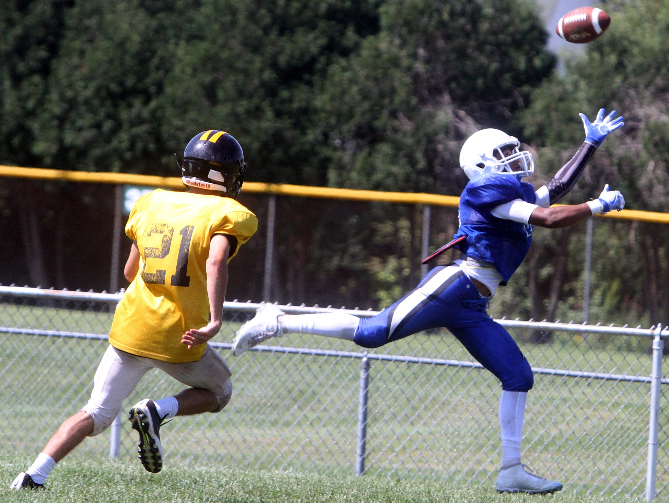Hen Hud and Nanuet played each other in a multi-teamscrimmage at Brewster High School Saturday. Area teams took part in the scrimmage in advance of next weekend's season-opening games.