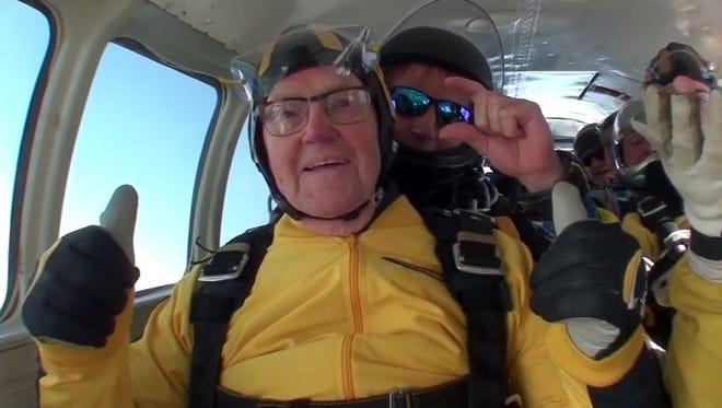 In this grab taken from video, Verdun Hayes gestures prior to tandem skydiving, in Devon, England, on May 14, 2017.