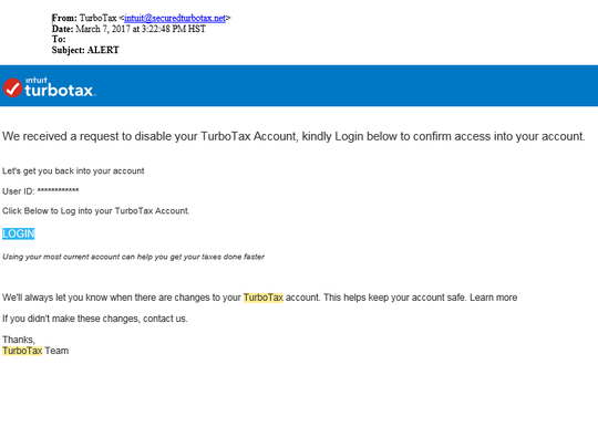 "Fake ""TurboTax"" Email"