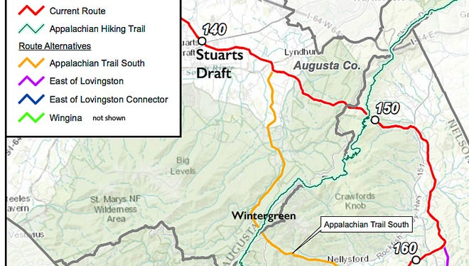 One possible alternate route would now turn south halfway between Stuarts Draft and Lyndhurst, running down past Wintergreen Resort.