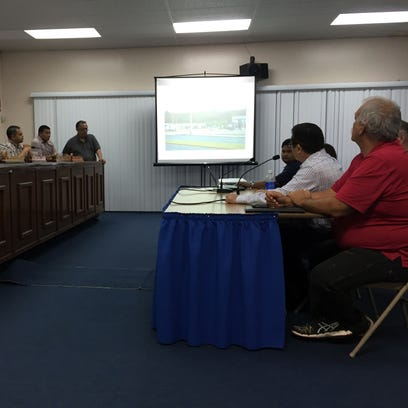 Sen. Frank Aguon Jr.'s Committee on Judiciary on Thursday listens to testimony from JMI-Edison Vice President John Ilao, who presented photos of private land that was taken  from a landowner for public use without any compensation to the landowner.