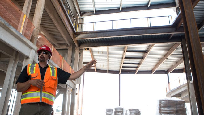 Eric Bender, superintendent of Journey Construction, gives a tour of the new Avera Health Hospital in Sioux Falls, S.D. Friday, June 15, 2018.