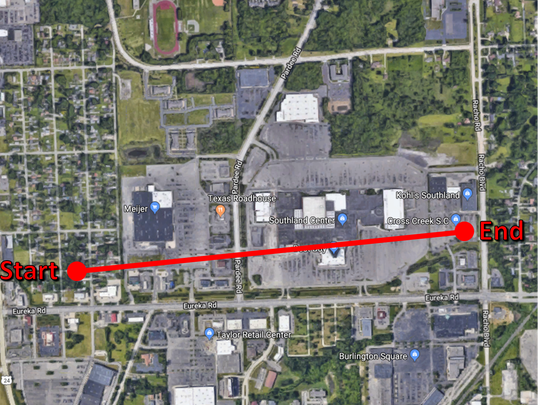 The path of the Taylor tornado took it directly over