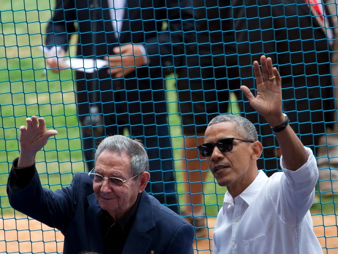 U.S. President Barack Obama, right, and his Cuban counterpart