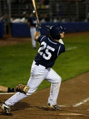 East Cobb Yankees' Joey Bart connects on a triple, Friday, Aug. 7, 2015, during their game against Praire Gravel during Game 23 of the Connie Mack World Series at Ricketts Park in Farmington.