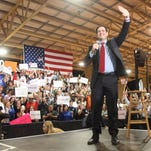 Senator Marco Rubio waves to supporters as he takes the stage during the Florida Kick-Off Rally at the Ronald Reagan Equestrian Center at Tropical Park in Miami, FL on Tuesday, March 1, 2016
