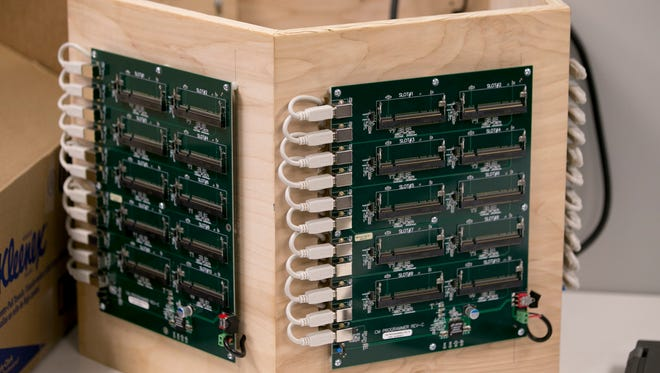 Circuit boards that are from a project being developed at the new Indiana IoT Lab, Fishers, Wednesday, Jan. 10, 2018. The tech incubator is a large complex for entrepeneurs who want to develop new products.