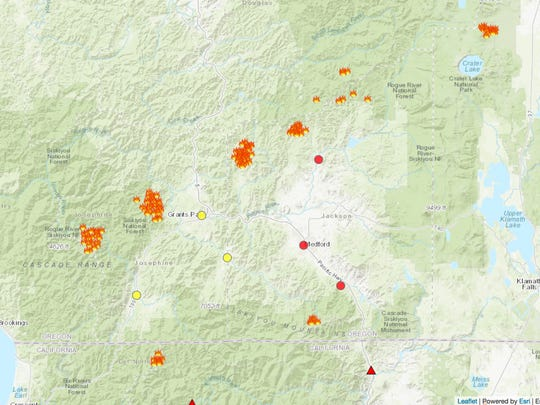 This map show current wildfires and unhealthy air quality