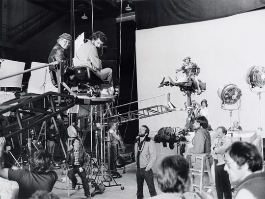 George Lucas during the shoot of 'Star Wars,' which
